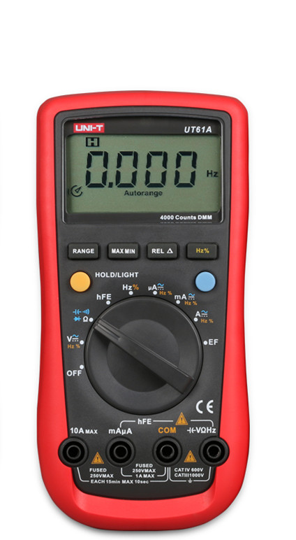 Digital Multimeter UNI-T UT61A High Reliability Professional Electrical Handheld Tester CD Backlight & Data Hold Multitester  uni t ut151e digital multimeter atv 250cc laptops digital multimeter
