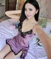 2016 Сексуальные Женщины Ночное Белье Мини Ночные Сорочки Глубокий V Ремни Юбка Лето Пижамы Ночь Платье