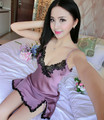 2016 Sexy Women Nightwear Mini Nightgowns Deep V Straps Skirt Summer Sleepwear Night Dress