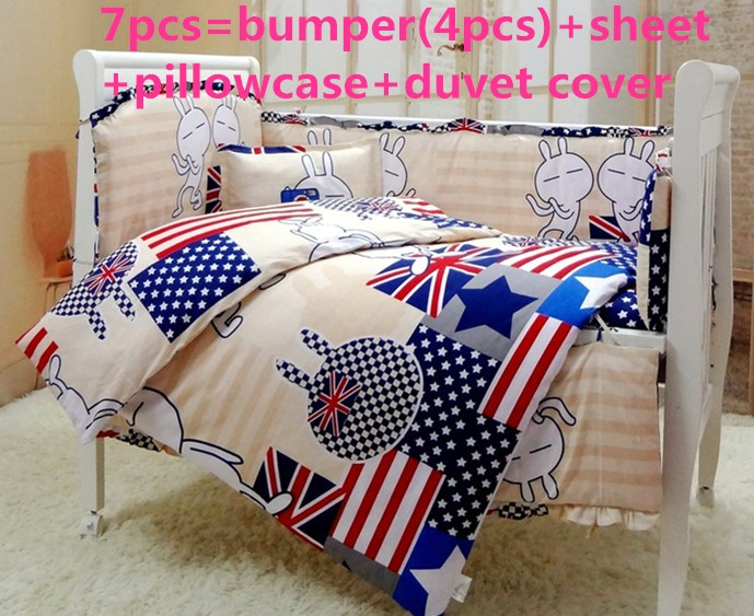 Discount! 6/7pcs baby bedding set kit baby cotton curtain crib bumper cot sets baby bed bumpers ,120*60/120*70cm discount 6 7pcs cartoon baby cot bedding sets baby bumper bedding set of baby crib and cot free shipping 120 60 120 70cm