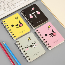BLINGIRD Cute cartoon cartoon facial expression student turning coil portable pocket A7 specification notepad kawaii notebook copy