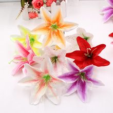 10Pcs/lot Handmade Artificial Flowers Silk Orchid for DIY Wreath Scrapbooking Wedding Home Decoration Craft Fake Flowers(China)