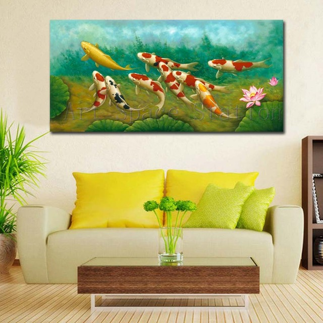 Green Modern Wall Art Chinese Painting Koi Fish Lotus Canvas Prints ...