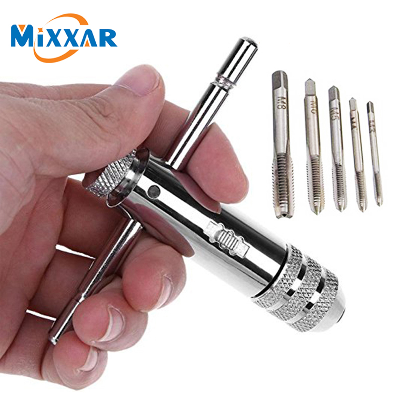 ZK30 Drop Ship 5Pcs/set  Adjustable 3-8mm T-Handle Ratchet Tap Wrench With M3-M8 Machine Screw Thread Metric Plug Machinist Tool
