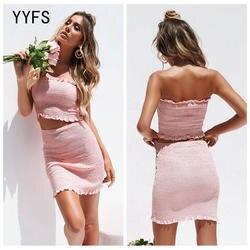 Лидер продаж элегантный розовый юбка костюмы Для женщин пикантные с открытыми плечами крышка груди + сумка бедра юбка 2 шт. комплекты из