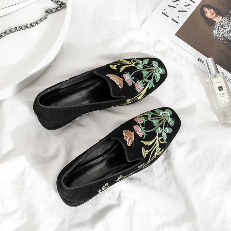 Chunky Seltsame Metallic Auf Kappe Wildleder Floral Ferse Zapatos Slip Mujer Schwarzes De Schuhe Frauen Sticken Schwarz Loafer Runde Luxus Designer PqBvz