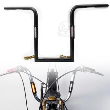 "1set Black Motorcycle 25mm 14""/16"" High Handlebar +LED Turn Signal Lights Universal Fit For Harley Sportster Honda CG125 Chopper"