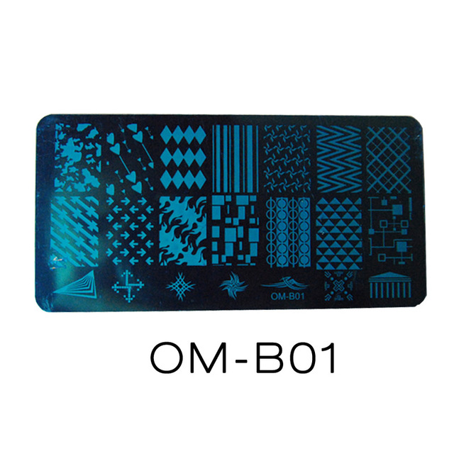 2017 20 Styles DIY Image 12x6cm OM Series Stamping Plates Fashion Nail Art Templates Stencils Salon Beauty Polish Tools for Xmas