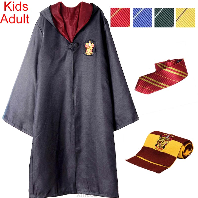 for Harris Potter Cosplay Clothing Robe Cape Cloak Tie Scarf Wand Ravenclaw Gryffindor Hufflepuff Slytherin Halloween Costumes