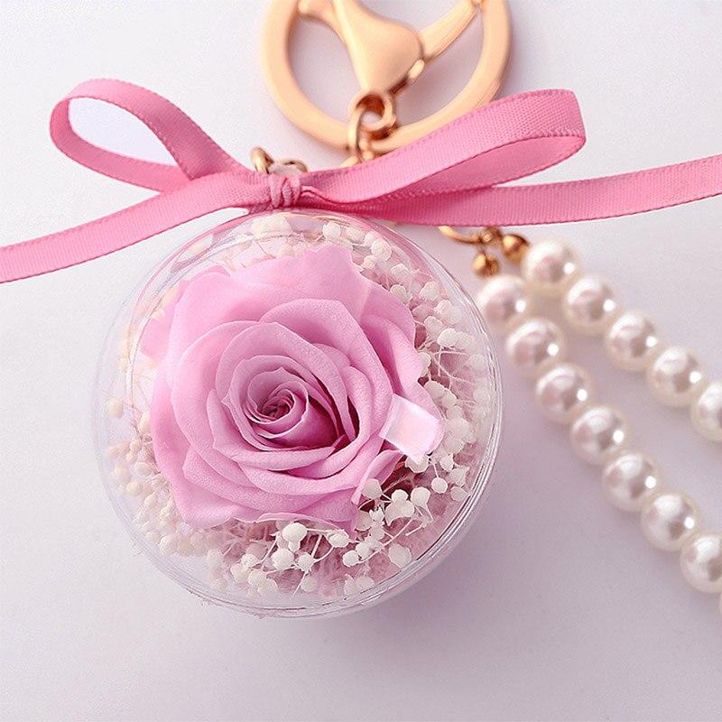 Романтический рождественский подарок для женщин вечные подвески в форме роз украшение автомобиля цветы сушеные цветы Висячие для сумки/брелок - Цвет: 03