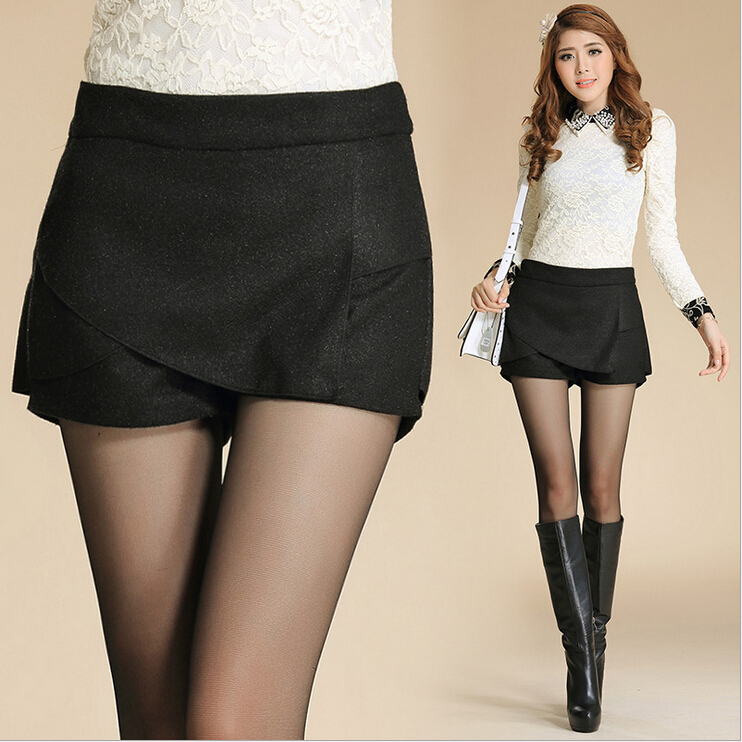 Women's Skirt New Fashion Spring Woolen Irregular Solid Short ...