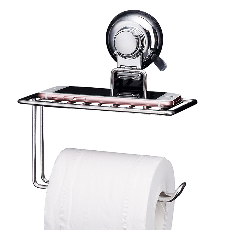 Toilet Paper Holder Suction Cup Creative 304 Stainless Steel Kitchen Bathroom WC Wall Tissue Roll Holder with Mobile Phone Shelf 2016 newest verto toilet paper holder bathroom abs surface double tissue accessories quality wc soap holder can hold phone z3