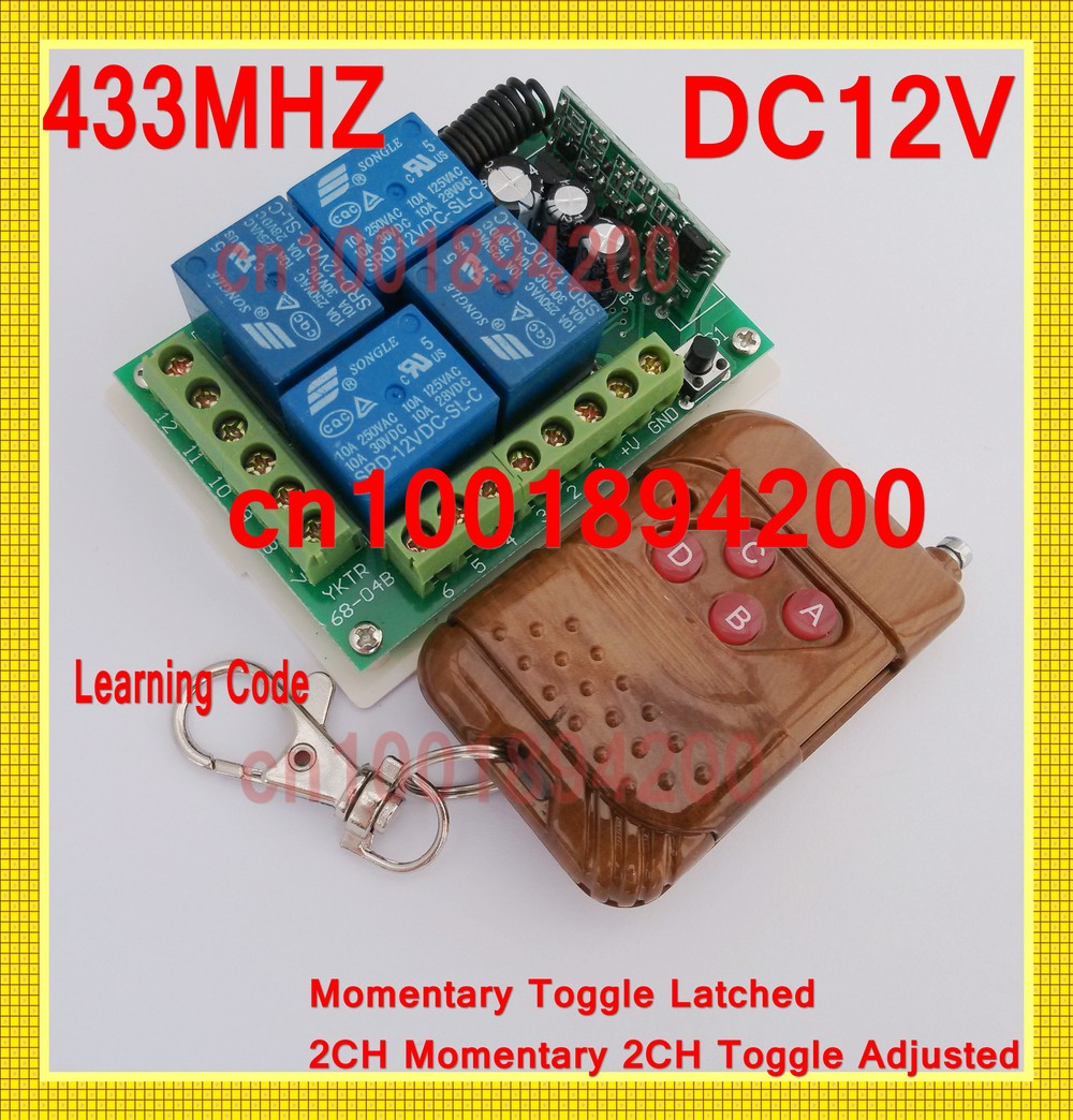 433/315MHZ DC12V 4CH Remote Control Switch System Push Button Transmitter Receiver +Case Learning Code Momentary Toggle Latched long range remote control switch dc 12v 1 ch 10a relay 4 receiver 1 transmitter learning code 315 433 4204