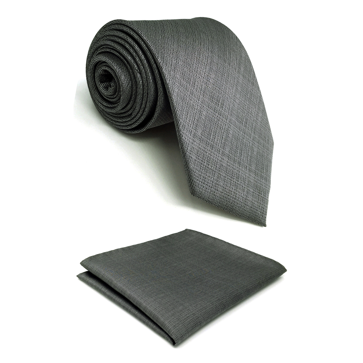 C20 Gray Solid Silk Mens Necktie Set Fashion Wedding Acceossories Hanky Brand New Extra Long Size Ties For Male