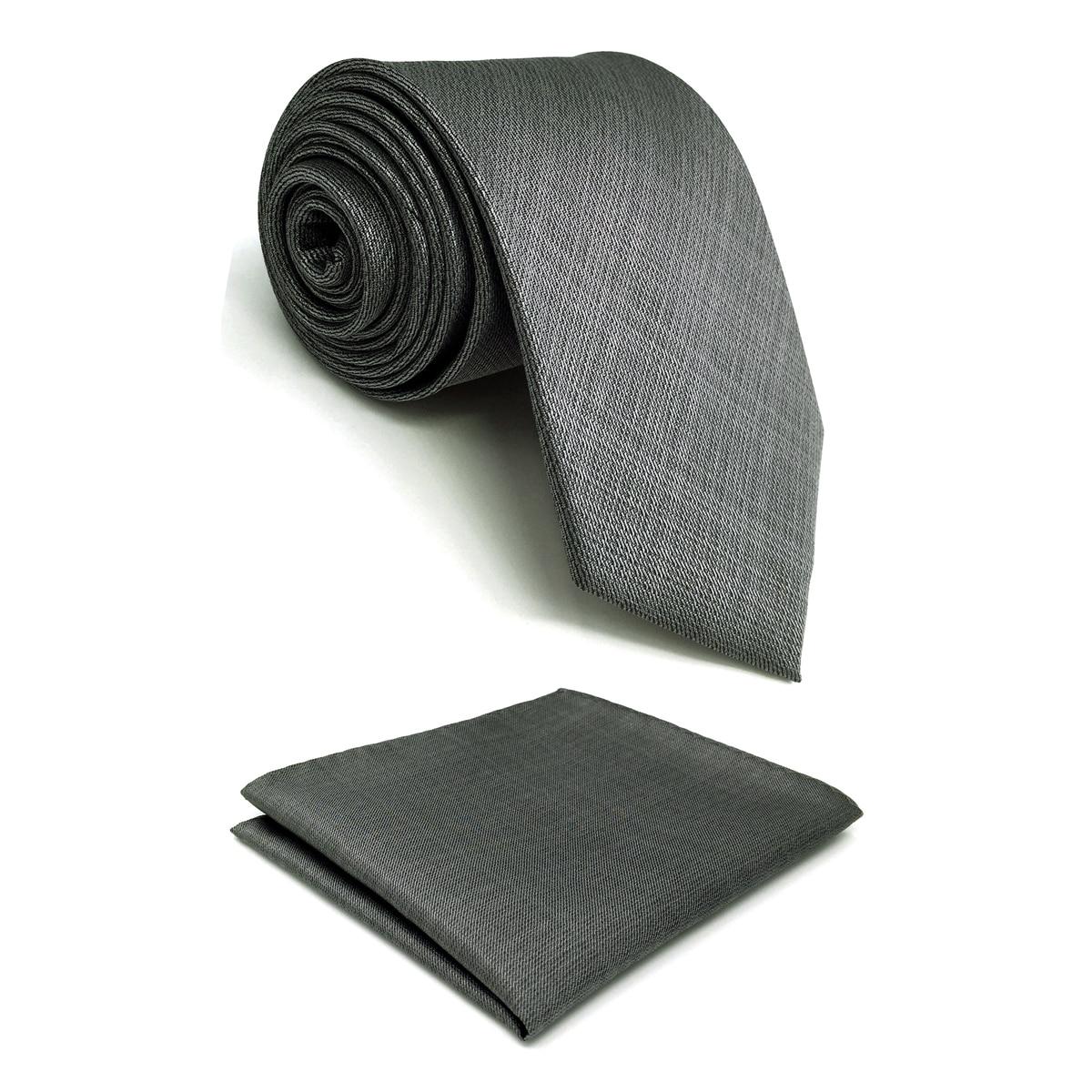 C20 Solid Gray Ties For Men Tie Set Silk Extra Long Silk Slim Skinny Classic