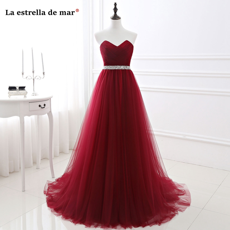 vestido madrinha HOT tulle crystal belt Sweetheart a LineBlush pink burgundy Purple royal blue bridesmaid dresses long