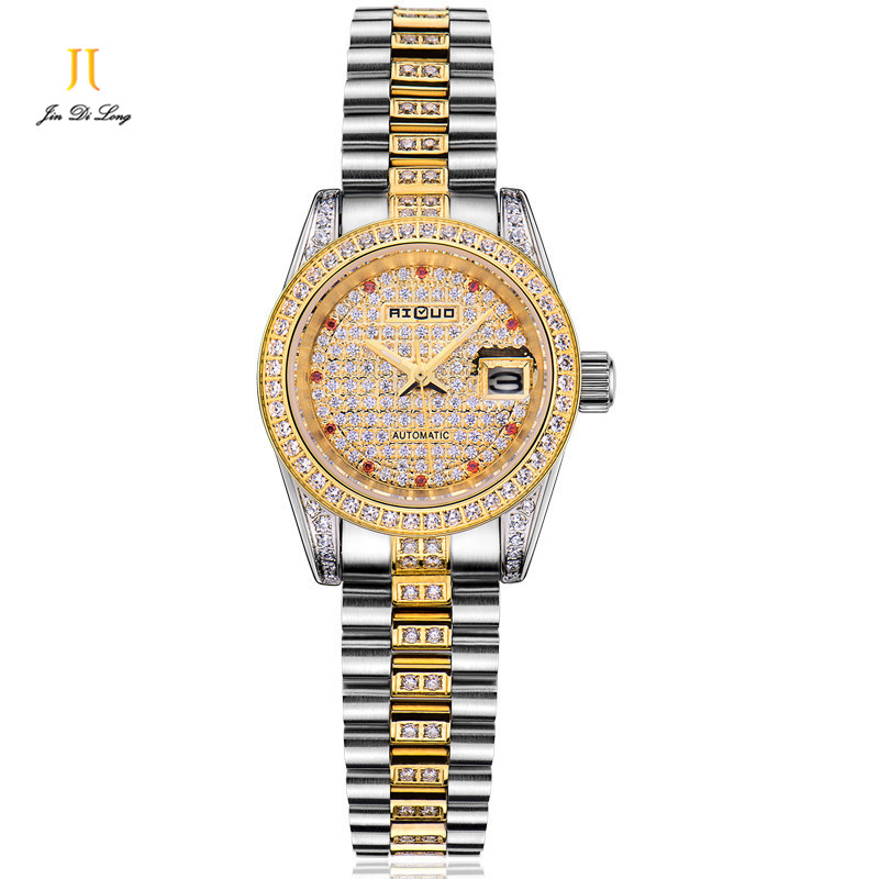 Brand Luxury Fashion Diamond Dress Watch Women Automatic Gold Watch Flywheel Clock Calendar Waterproof Ladies Wristwatch Elegant