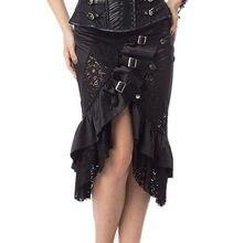 09aa1ae02d 2018 faldas Steampunk de cintura alta gótica Victoriana negro Floral de  encaje falda Medieval renacentista faldas asimétricas