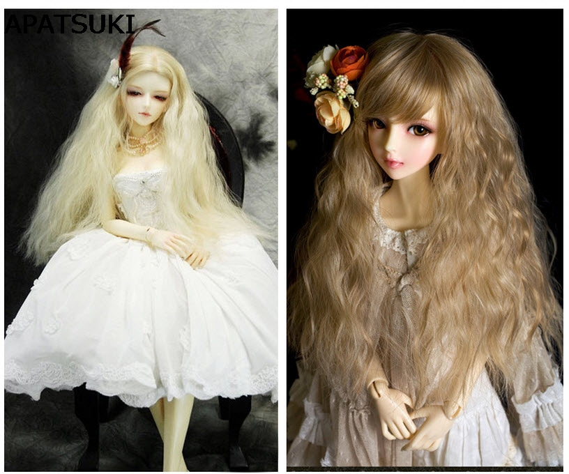 25cm*1m Colorful Doll Wigs DIY Doll Curly Hair Wavy Wigs Brown Khaki Color Hair For 1/3 1/4 1/6 BJD SD doll