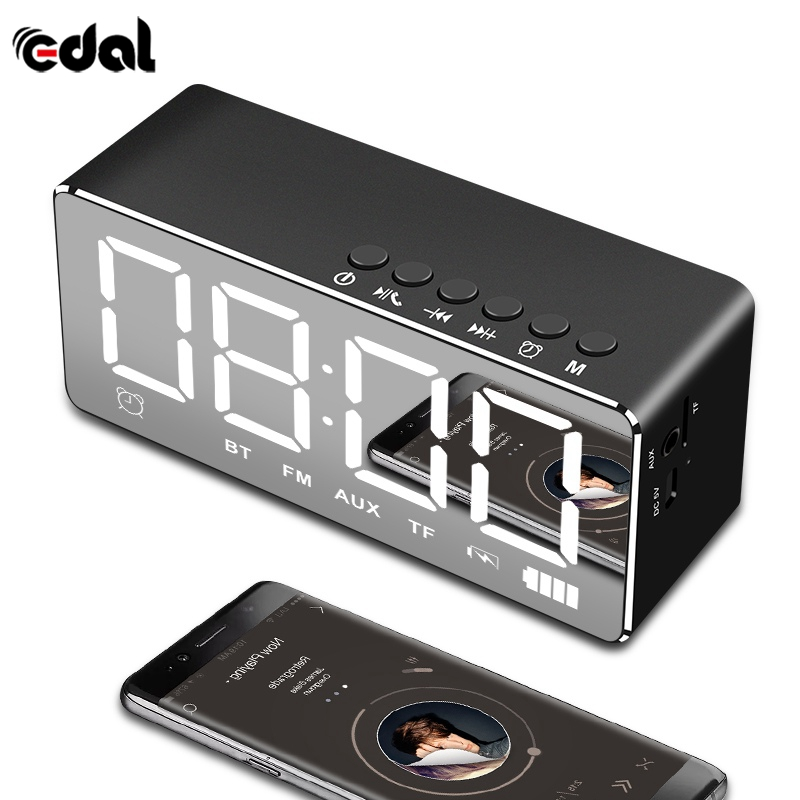 EDAL Portable Bluetooth Speaker Wireless Stereo Music Soundbox Subwoofer with LED Time Display Clock Alarm Loudspeaker TF Card