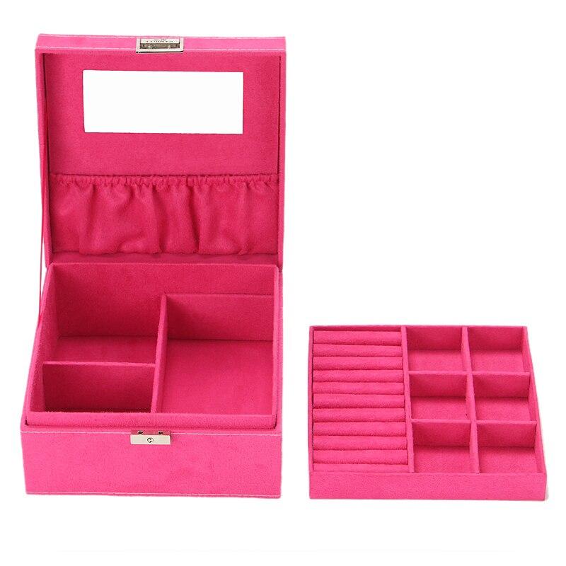 2016 nouvelles femmes de haute qualité velours deux couches collier anneaux etc maquillage organisateur Cube bijoux affichage/boîtes à bijoux pour les filles