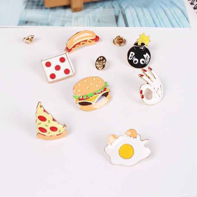 Buy Cheap 1 Pc Kawaii Food Series Badge Hamburg Pizza Hot Dog Brooches Metal Decoration Badges Badges Arts,crafts & Sewing