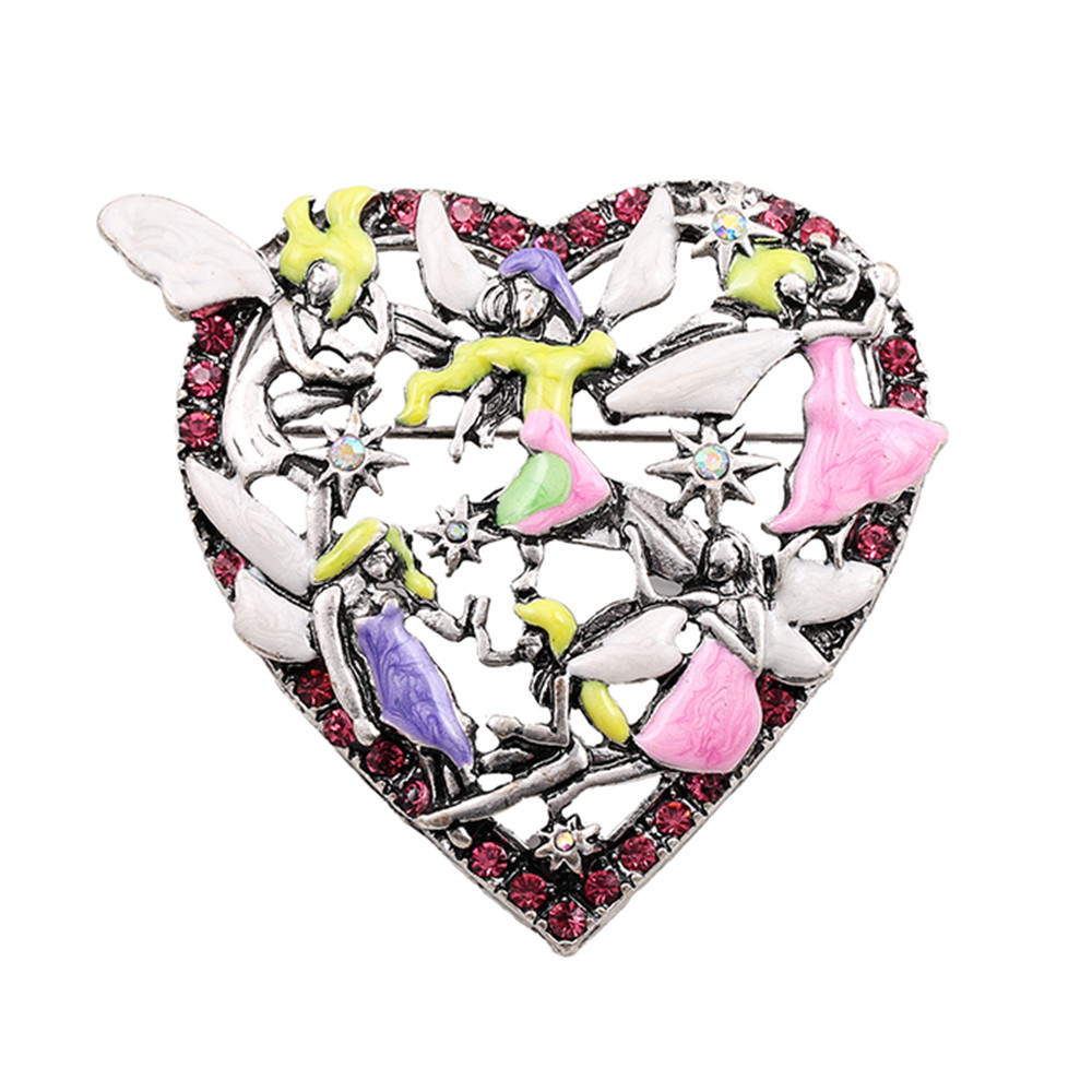 2017 free shipping fashion women New Jewelry Artistic retro fashion peach heart texture brooch Wholesale brooches