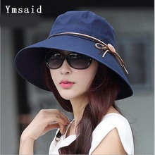 Ymsaid 2017 Summer Women's Wide Brim Beach Sun Hat Fashion Chapeu Feminino Foldable Visor Cap Anti-UV Cap