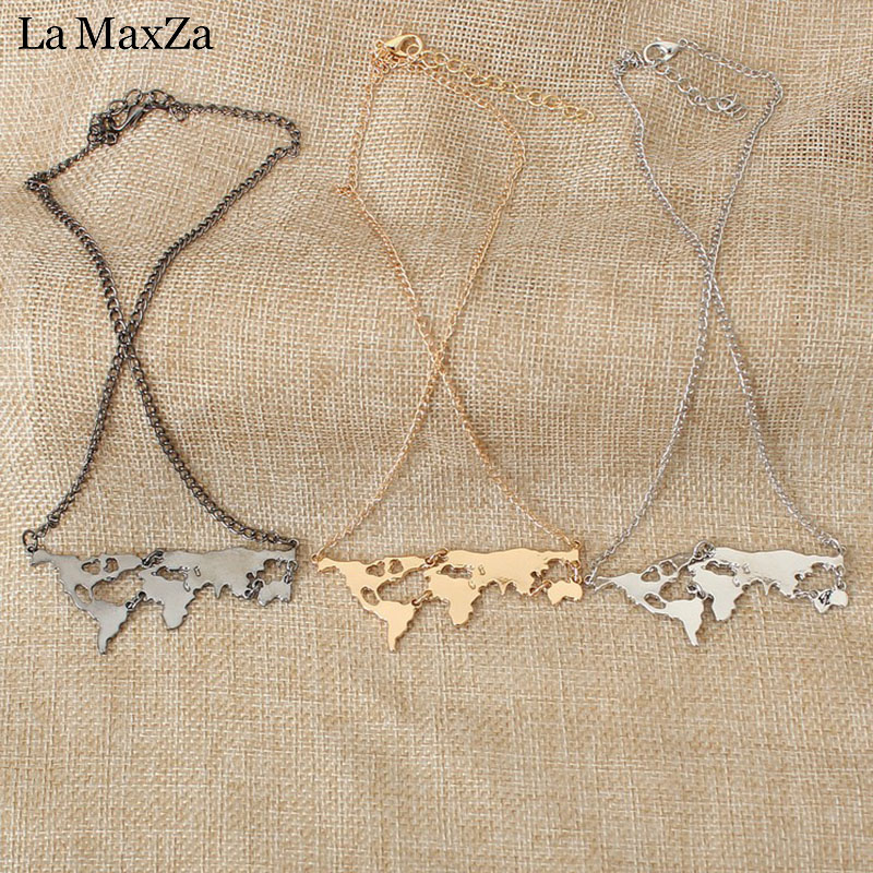 Gold & Silver World Map Necklace Women Globe Necklace Personalized Travel Necklace Rose Gold Earth Jewelry Accessories Wholesale