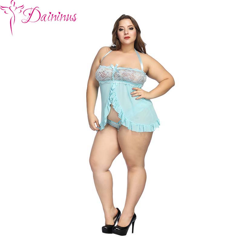 Daininus Sex Clothes For Women <font><b>6XL</b></font> <font><b>Sexy</b></font> Lingerie Big Size Mesh Fly-Away Lace Robe Newly Hot Erotic Dress For Sex Porn Clothes image