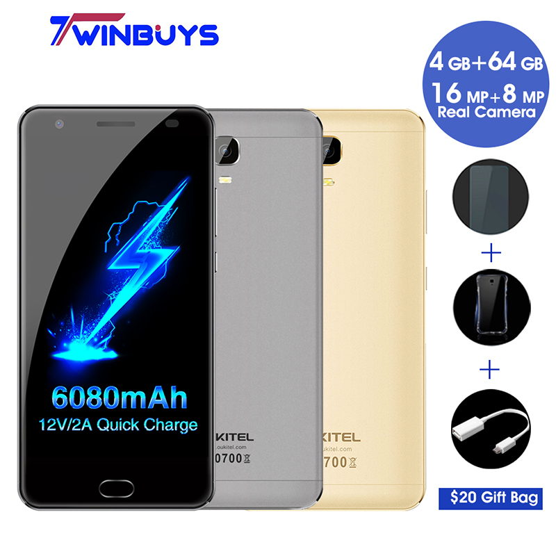 "bilder für OUKITEL K6000 Plus 4G handy 5,5 ""FHD MT6750T Octa-core 4 GB + 64 GB 6080 mAh 12 V/2A QC Ladung 16MP Vorder Touch ID Smartphone"