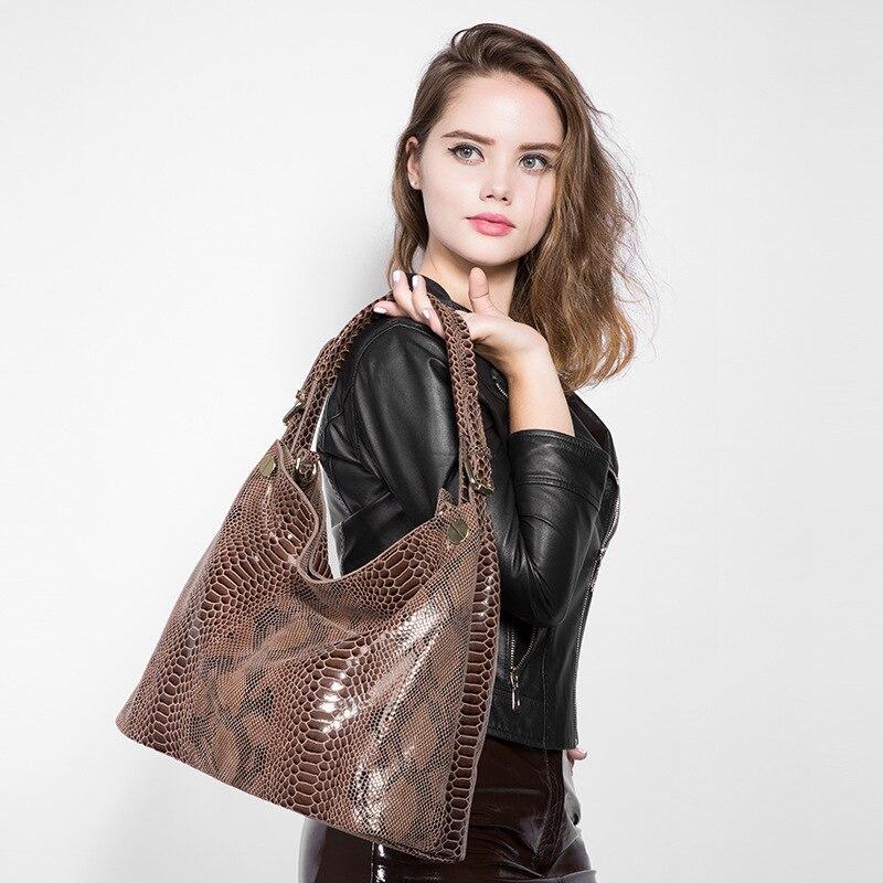 2018 nowe mody serpentyn kobiet torebki 100% krowa prawdziwej skóry panie torba na ramię prawdziwa skóra kobiet luksusowe Crossbody torba w Torebki na ramię od Bagaże i torby na  Grupa 2