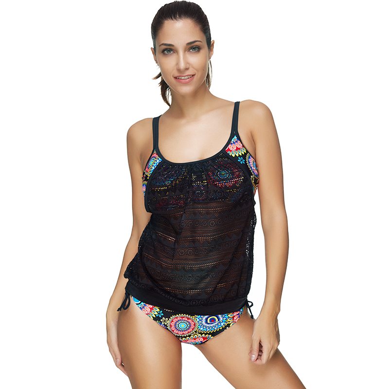 Two Pieces Swimsuit Large Size Swimwear Female Floral Crochet Bathing Suit Swimming Suit For Women  Bathers