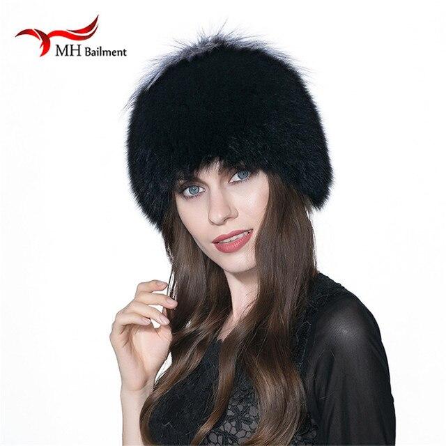 dbaf0ad371faf Natural piel de Fox sombreros para las mujeres piel Real gorros casquillo  hecho punto sombreros ruso