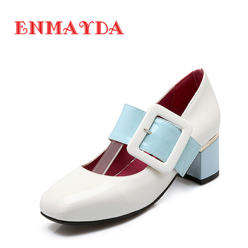 ФОТО ENMAYDA Classic Mary Janes Med Heels Square Heel Patent Leather Pumps Square Toe Buckle Sweet Party for Woman Shoes Size 34-46
