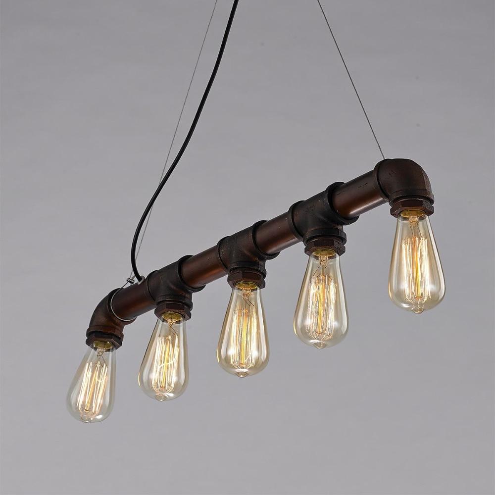 ФОТО Loft Vintage Edison Pendant Lights Personalized Bar Lighting Industrial Vintage 5 Heads Water Pipe Pendant Lamp E27 Antique Lamp