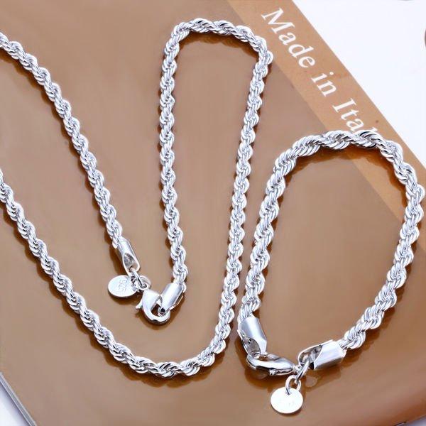 MEEKCAT Free Shipping Wholesale silver plated 925 jewelry set, fashion jewlery set 2mm Twisted Line Two-Piece Jewelry Set