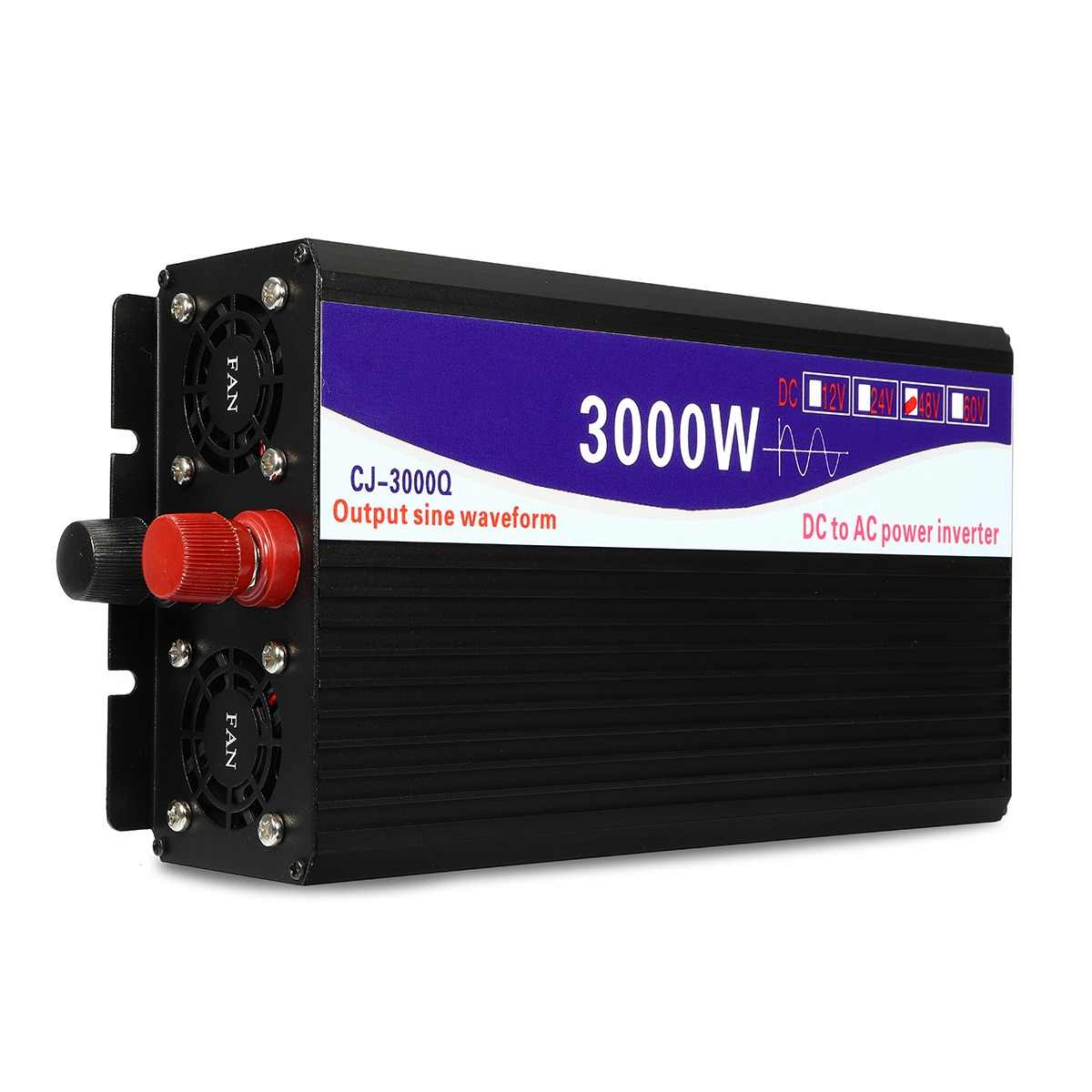 3000 W Inversor 12 V/24 V/48 V a 220 V Tensão do Transformador Conversor de Onda Senoidal Pura power Inverter + Duplo display LCD