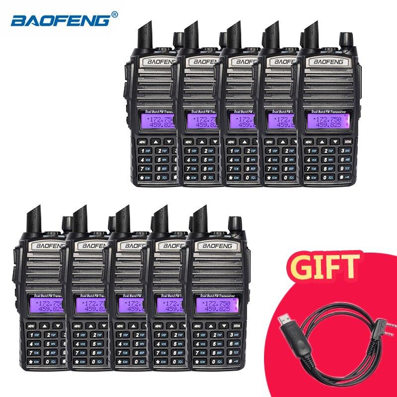 10pcs Baofeng UV 82 Walkie Talkie Dual Band VHF UHF 136 174MHZ 400 520MHZ Portable