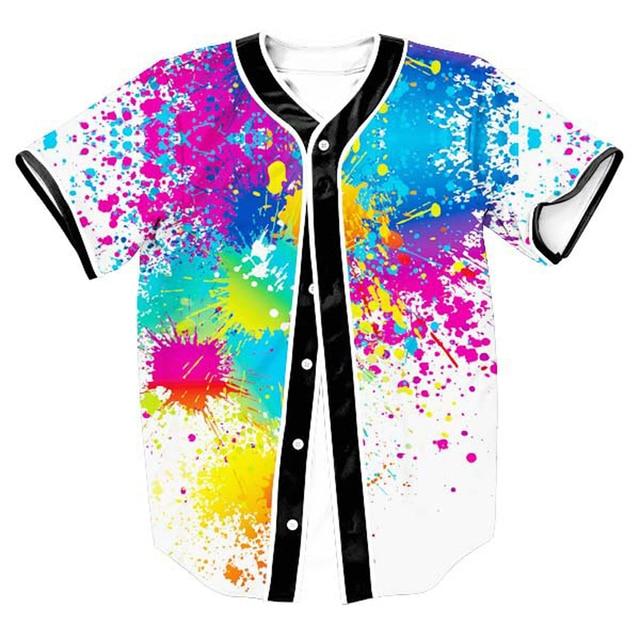 3D Baseball Shirt Men 2017 Splash Ink Print Men T Shirts Short Sleeve Casual  Baseball Jersey 53aec0abf