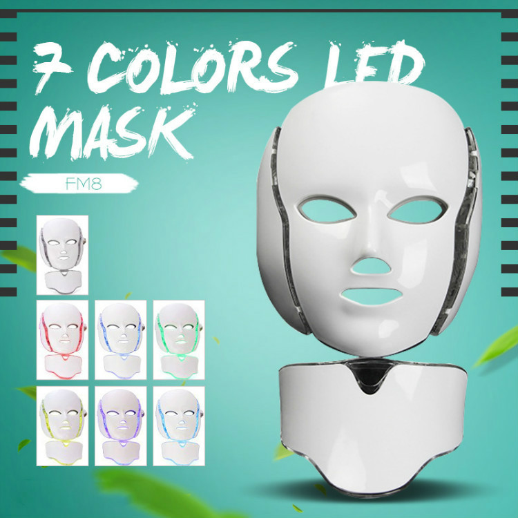 Multifunction  Face Neck Mask 7 Color LED Treatment Skin Whitening Firming Facial Beauty Mask Electric Anti-Aging Mask