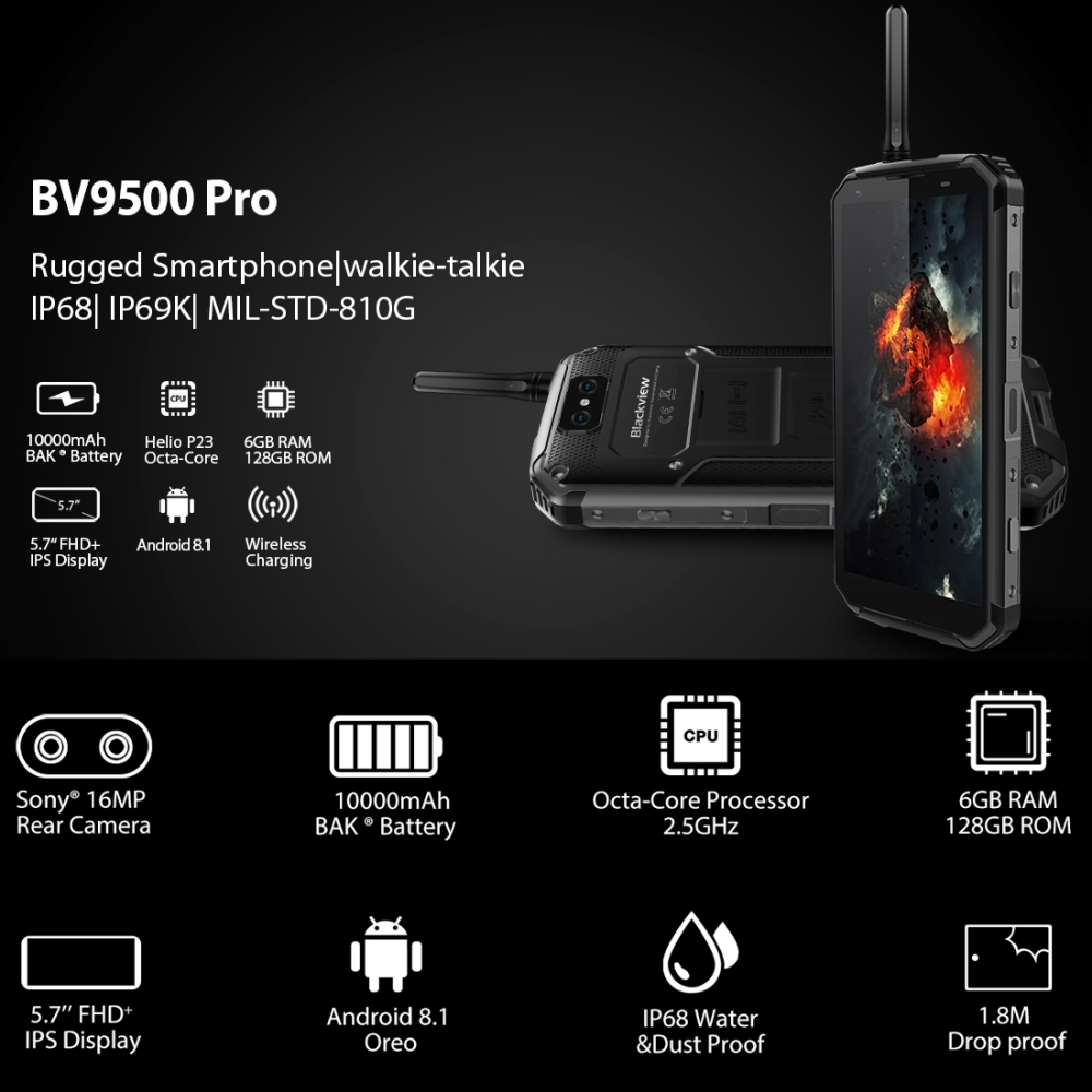 Image 5 - Blackview BV9500 Pro 6GB 128GB Mobile Phone 5.7 inch Android 8.1 Wireless Charge Dual SIM Smartphone Octa Core 16MP 13MP LTE 4G-in Cellphones from Cellphones & Telecommunications