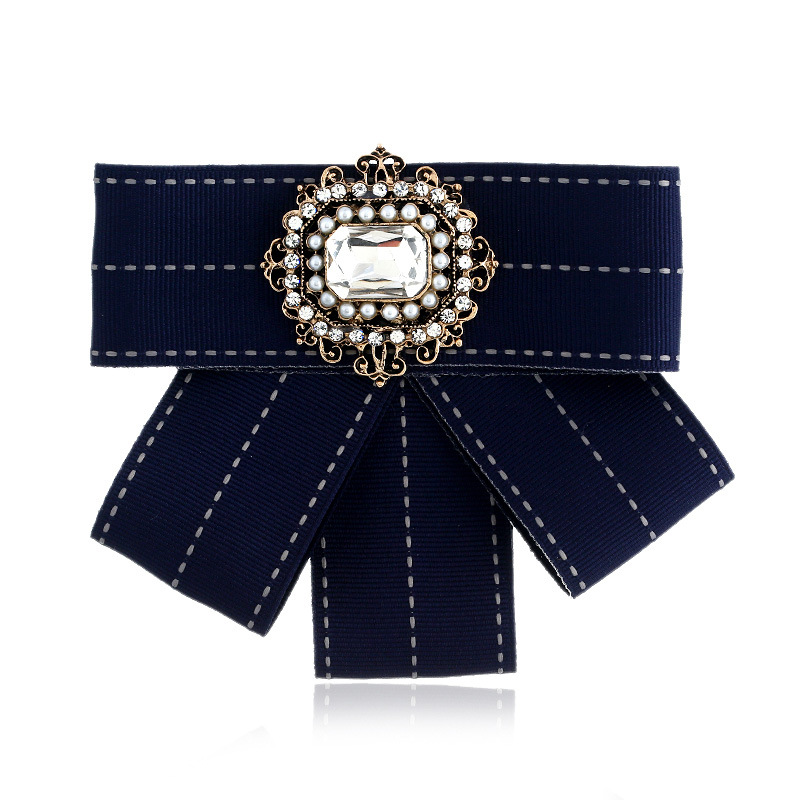 DIEZI New Fashion Women Men Brooches Ribbon Big Gem Stone Bowknot Shirts Bow Tie Pins Collar Accessories Fashion Jewelry