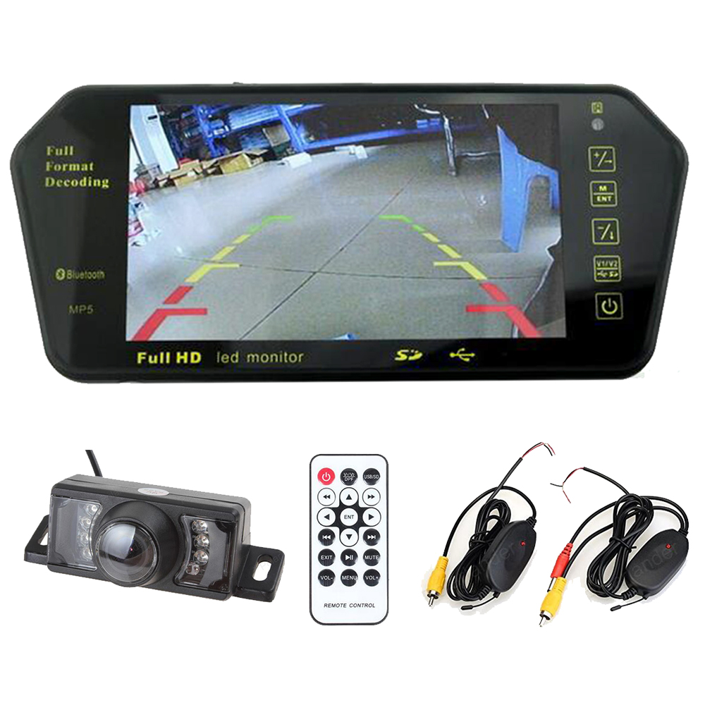 Wireless 7 inch TFT bluetooth car Mirror monitor mp5 Two video input +7 LED night vision rear view reverse parking camera