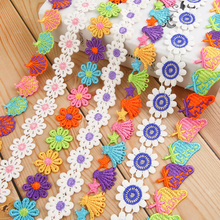 1Meter DIY Sewing Childish Style Handmade Lace Ribbon Fabric Patchwork Accessories Decorative Fruit Flowers Patterns