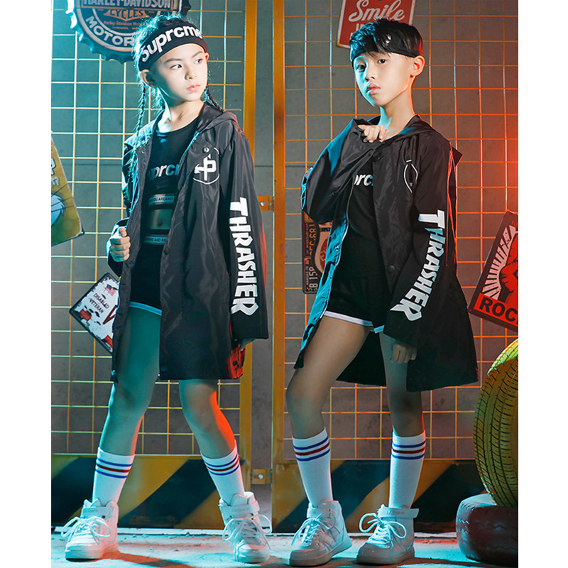 Children Girls Jazz Dance Costume Sets Hip-Hop Performance Clothing Boys Black Letter Jacket Clothes Halloween Party Clothing