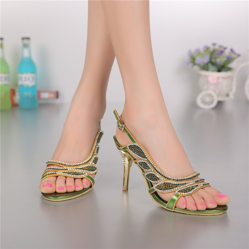 ec63af4092a6f1 Women Summer New Luxury Shoes Sale Online Leather High Heeled Open-toed  Sandals With Diamond High Quality