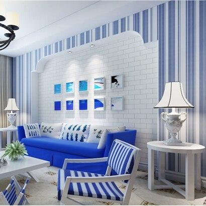 0,53x10 Meter Mediterranen stil blau weiß rosa gestreifte tapete ...
