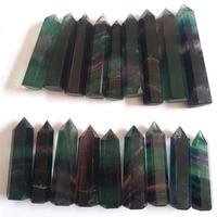 Drop Shipping Wholesale 1Kg Natural Color Fluorite Quartz Crystal Magic Wand Healing