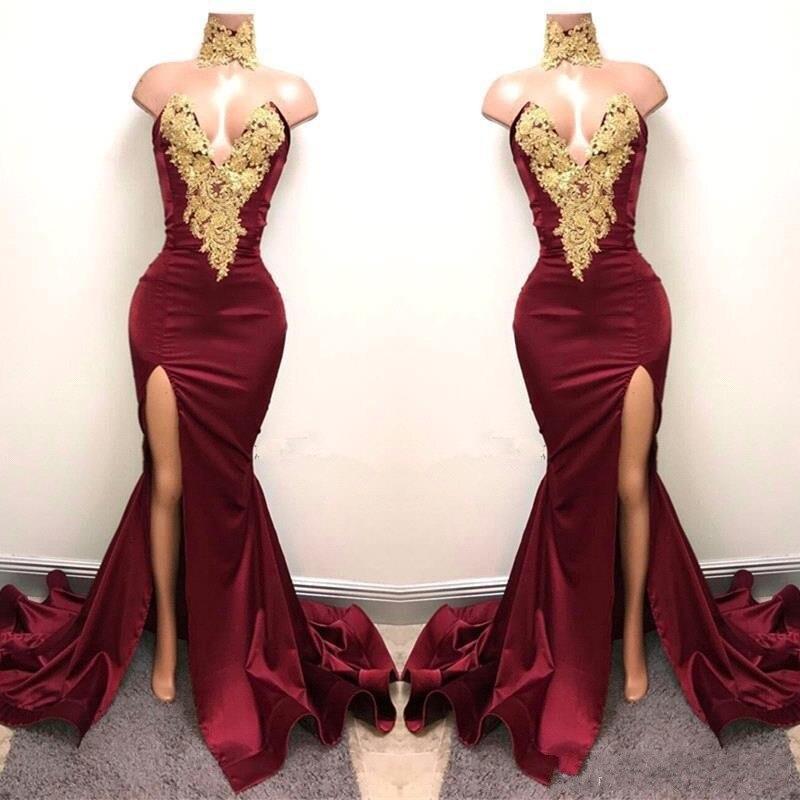 Aso Ebi Burgundy Long Mermaid Prom Dresses 2019 Nigeria Sexy High Side  Split Bridesmaid Dress Off Shoulder African Appliques 3061c1caee29